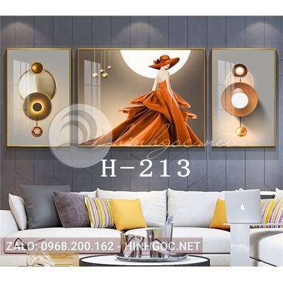 Bộ 3 tranh chân dung cô gái váy vàng và hình line art-H-213