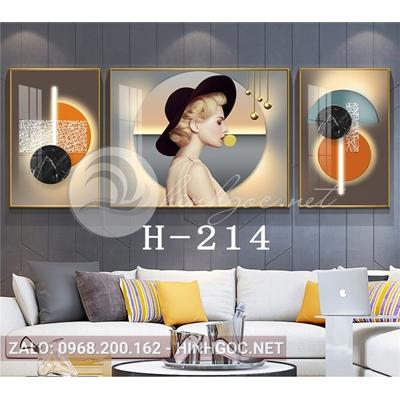 Bộ 3 tranh chân dung cô gái thổi bóng và hình line art-H-214