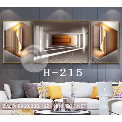 Bộ 3 tranh line art hình học trừu tượng nghệ thuật-H-215