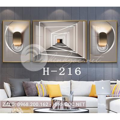 Bộ 3 tranh line art hình học trừu tượng-H-216
