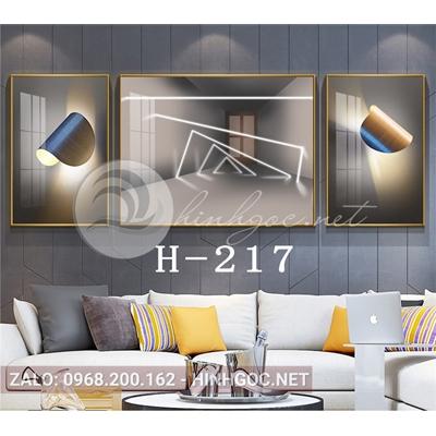 Bộ 3 tranh line art hình học trừu tượng đẹp-H-217