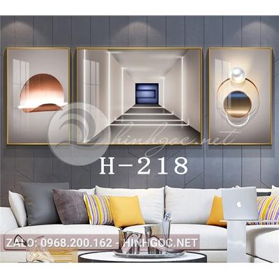 Bộ 3 tranh line art hình học trừu tượng-H-218
