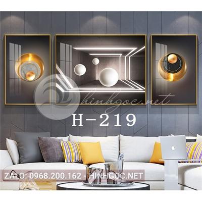Bộ 3 tranh line art hình học trừu tượng-H-219
