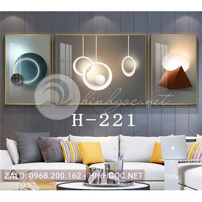 Bộ 3 tranh line art hình học trừu tượng-H-221