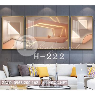 Bộ 3 tranh line art hình học trừu tượng-H-222