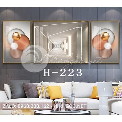 Bộ 3 tranh line art hình học trừu tượng-H-223