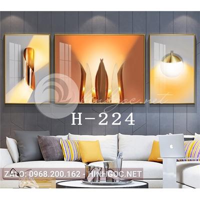 Bộ 3 tranh line art hình học trừu tượng-H-224