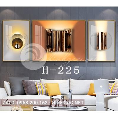 Bộ 3 tranh line art hình học trừu tượng-H-225