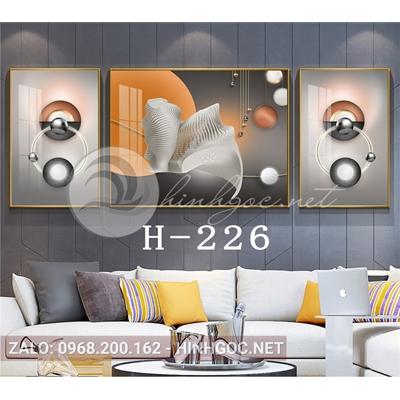 Bộ 3 tranh line art hình học trừu tượng-H-226