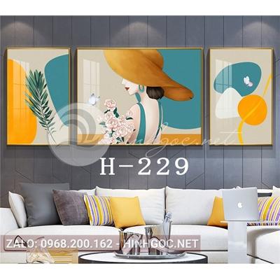 Bộ 3 tranh chân dung cô gái và hình line art-H-229