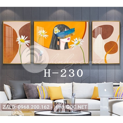 Bộ 3 tranh chân dung cô gái và hình line art-H-230