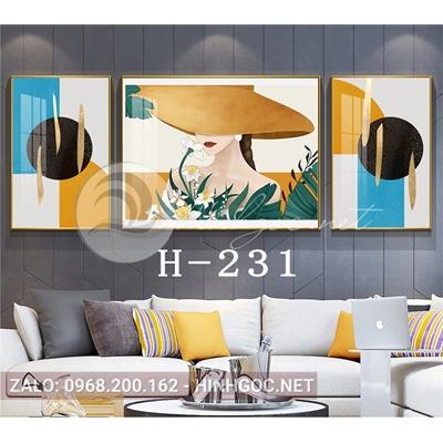 Bộ 3 tranh chân dung cô gái và hình line art-H-231