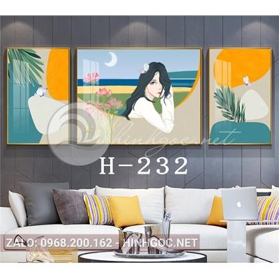 Bộ 3 tranh chân dung cô gái và hình line art-H-232