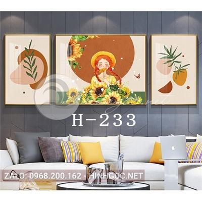 Bộ 3 tranh chân dung cô gái cầm hoa hướng dương và hình line art-H-233