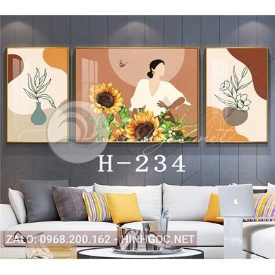 Bộ 3 tranh chân dung cô gái cầm hoa hướng dương và hình line art-H-234