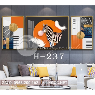 Bộ 3 tranh ngựa vằn thổi bóng và lông vũ-H-237