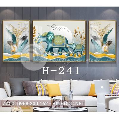 Bộ 3 tranh hươu và voi đứng trên dải vân, lông vũ-H-241