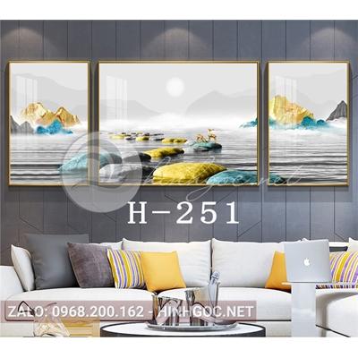 Bộ 3 tranh phong cảnh sơn thủy hươu đứng trên đá cuội-H-251