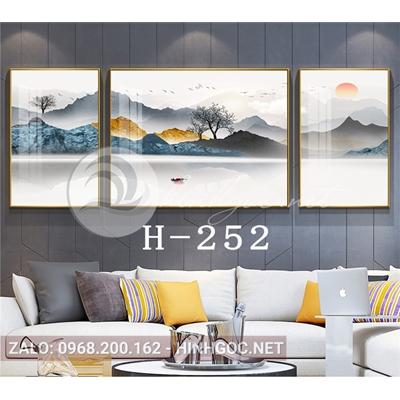Bộ 3 tranh phong cảnh sơn thủy núi trùng điệp-H-252