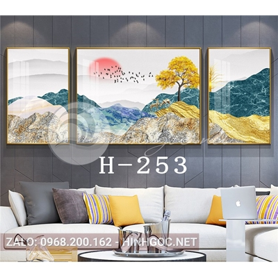 Bộ 3 tranh phong cảnh sơn thủy cây tuần lộc trên núi-H-253