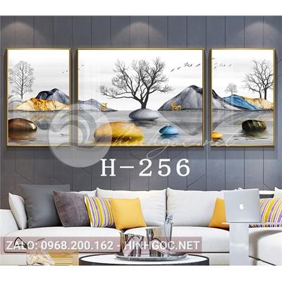 Bộ 3 tranh phong cảnh hươu đứng trên đá cuội-H-256