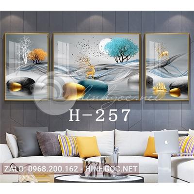 Bộ 3 tranh phong cảnh hươu đứng trên đá cuội, dải vân-H-257
