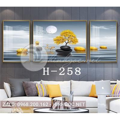 Bộ 3 tranh phong cảnh hươu đứng trên đá cuội-H-258