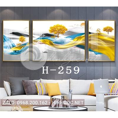 Bộ 3 tranh phong cảnh hươu đứng trên dải vân-H-259