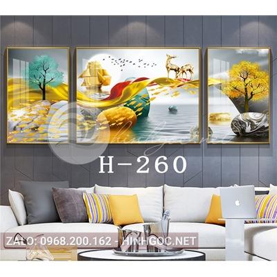 Bộ 3 tranh phong cảnh hươu đứng trên dải vân và đàn cá vàng-H-260