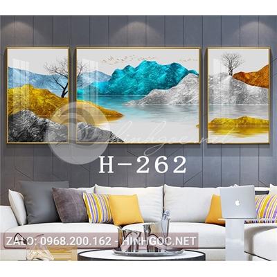 Bộ 3 tranh phong cảnh sơn thủy dãy núi trùng điệp-H-262