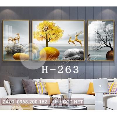 Bộ 3 tranh phong cảnh hươu đứng trên đá cuội và cây-H-263