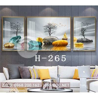 Bộ 3 tranh phong cảnh những hòn đá cuội trên sông-H-265