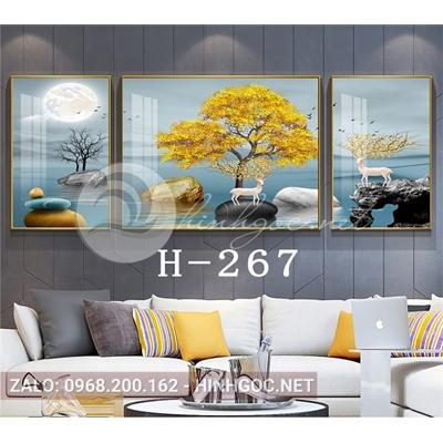 Bộ 3 tranh phong cảnh những hòn đá cuội trên sông-H-267