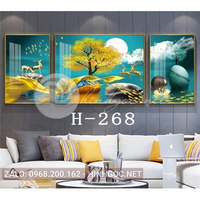 Bộ 3 tranh hươu đứng trên dải vân và đàn cá vàng-H-268