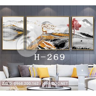 Bộ 3 tranh hươu đứng trên dải vân và cây tuần lộc-H-269