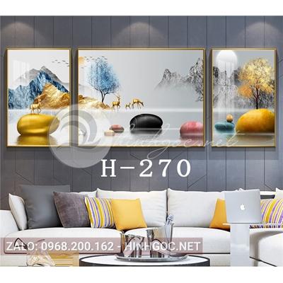 Bộ 3 tranh hươu đứng trên đá cuội và cây tuần lộc-H-270