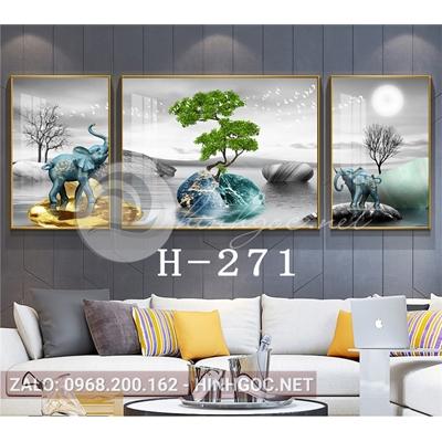 Bộ 3 tranh voi xanh đứng trên đá cuội và cây tuần lộc-H-271