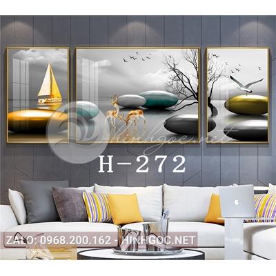 Bộ 3 tranh phong cảnh đôi hươu và những hòn đá cuội-H-272