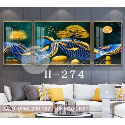 Bộ 3 tranh hiện đại đàn cá chép vàng và dải vân đẹp-H-274