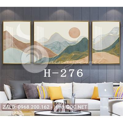 Bộ 3 tranh sơn thủy trừu tượng những dãy núi trùng điệp-H-276