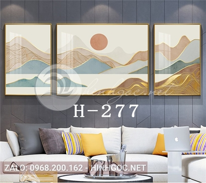 Bộ 3 tranh sơn thủy những dãy núi trùng điệp-H-277