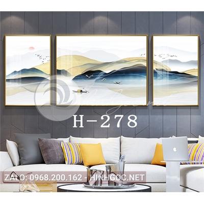 Bộ 3 tranh sơn thủy trừu tượng những dãy núi trùng điệp-H-278