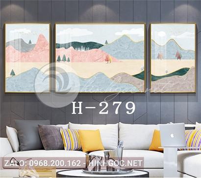 Bộ 3 tranh sơn thủy dãy núi trùng điệp và cây thông-H-279