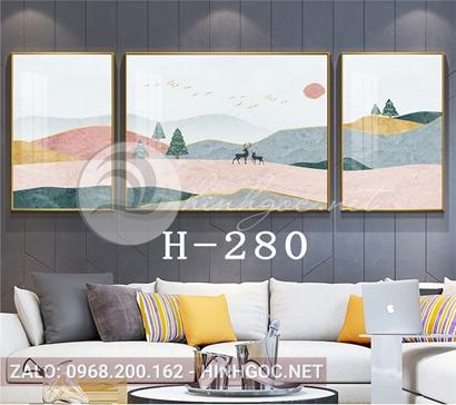 Bộ 3 tranh sơn thủy dãy núi trùng điệp, đôi hươu, cây thông-H-280