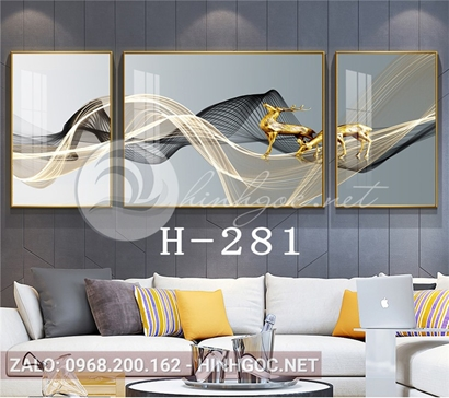 Bộ 3 tranh đôi hươu đứng trên dải vân nghệ thuật-H-281