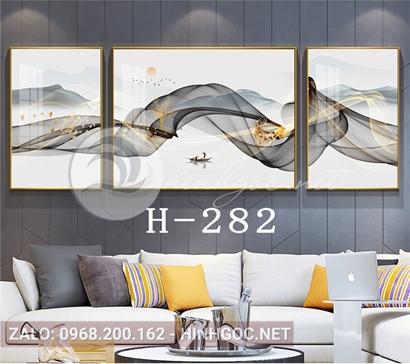 Bộ 3 tranh đôi hươu đứng trên dải vân nghệ thuật-H-282