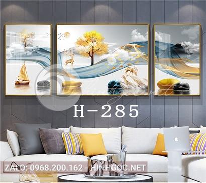 Bộ 3 tranh hươu đứng trên đá cuội và dải vân đẹp-H-285