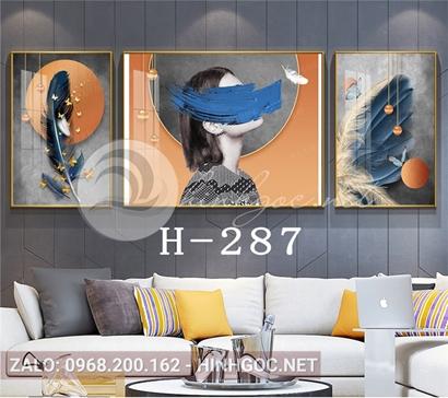 Bộ 3 tranh chân dung cô gái và lông vũ-H-287