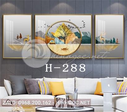Bộ 3 tranh hươu đứng trên sông và cây tuần lộc-H-288