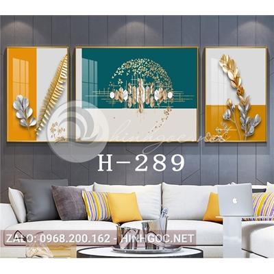 Bộ 3 tranh hoa lá và hình line art-H-289